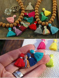 The Tiniest Tassels // Super-sweet handcrafted cotton tassels with silver binding.  From Tassel Heaven: WomanShopsWorld #tassels