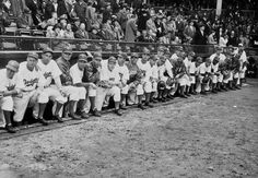 Brooklyn Dodgers team photo in the dugout at Ebbets Field