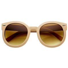 Women's Designer Round Oversize Retro Fashion Sunglasses in Nude | zerouv.com just $9.99 and free shipping! Can't wait to wear these.