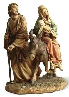 Flight Into Egypt Statue Mary With Joseph And Baby Jesus Traditional figure depicting the journey that Mary and Joseph took after the birth of Jesus. From Joseph studio Made of resin and hand painted Measures Santa Figurines, Christmas Figurines, Christmas Nativity, Miniature Figurines, Holy Family, Baby Jesus, Religious Gifts, Home Decor Furniture, Sagrada Familia