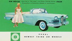 Promotional postcard: Beautiful Kim Novak, beautiful new Edsel.