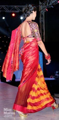 Nachiket Barves fashion show via Miss Malini. I love that blouse.