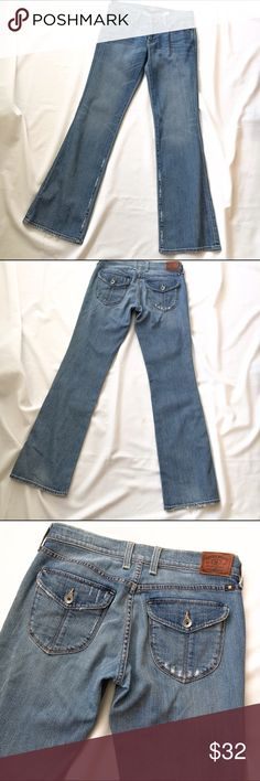 Lucky Brand Denim Jeans Flap Pocket Sweet Low 2 26 These are in good condition. The rise is 8 inches. 98% cotton and 2% spandex. 33 inch inseam. A little fraying at the hem. They are super soft and have cute flap pockets in the back! Lucky Brand Jeans Boot Cut