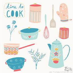 Time to Cook by Flora Waycott Love Illustration, Pattern Illustration, Scandinavian Art, Design Graphique, Kitchen Art, Food Illustrations, Cooking Gadgets, Cooking Utensils, Kitchen Utensils