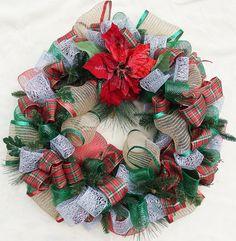 Poinsettia Wreath Deco mesh wreath Red and by DesignsOnHoliday Poinsettia Wreath, Christmas Poinsettia, Holiday Wreaths, Holiday Crafts, Holiday Decor, Green Wreath, Diaper Cakes, Deco Mesh Wreaths, Decorative Items