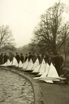 Pond yacht racing - Clapham, London.