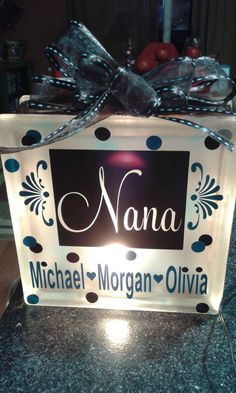 Personalized Grandmother/Mother Lighted Glass by StickyThoughts, $27.50