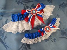 Captain America themed Bride's & Toss Garter set made in CUSTOM COLORS to match your wedding color scheme Geeky Comic Book Superhero Wedding on Etsy, $45.00