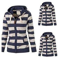 Women s Autumn Casual Striped Zipper Drawstring Hoodie Jumper Hooded Jacket Coat Hoodie Sweatshirts, Sports Sweatshirts, Pullover Hoodie, Sweater Hoodie, Hoodies, Plaid Jacket, Hooded Jacket, Grunge, Hoodie Pattern