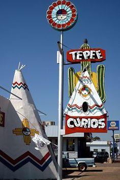 Route 66- fun neon sign with the Zuni sun face.