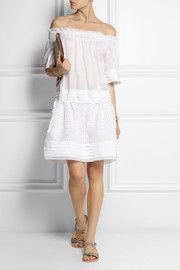 Pleated linen and broderie anglaise mini dress