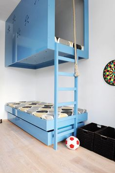 what an awesome space saving idea, although I can totally see my kids falling out of this