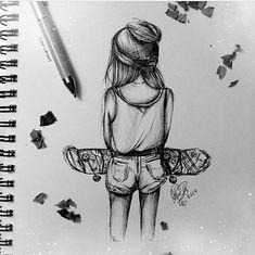 skater girl drawing - Google Search