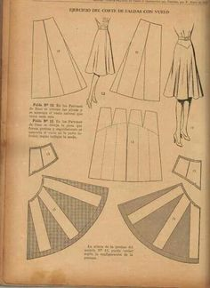 Understanding The Vintage Sewing Pattern - Sewing Method Doll Dress Patterns, Vintage Dress Patterns, Clothing Patterns, Shirt Patterns, Vintage Skirt, Patron Vintage, Pola Rok, Pattern Cutting, Pattern Making