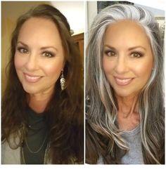 a work in progress - Gorgeous Gray Hair - Beauty Tips and Tricks Long Gray Hair, Silver Grey Hair, Blue Grey Hair, Grey Hair Dye, Grey Hair Transformation, Gray Hair Highlights, Grey Hair Inspiration, Curly Hair Styles, Natural Hair Styles