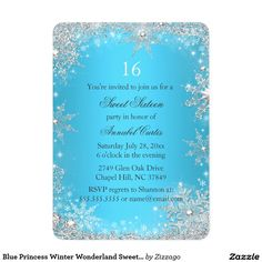 sweet sixteen winter wonderland silver teal invitation in 2018