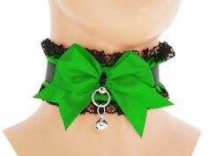 Black green satin lace Day Collar, kawaii Collar, Choker DDLG, Little Girl, Princess Kittenplay, Petplay BDSM, Collar Kitten, Kitten play N4