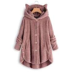 Teddy Bear Cat Ears Button Up Coat 39.99 CAD Hooded Cardigan, Hooded Jacket, Sherpa Sweater, Loose Sweater, Women's Teddies, Fluffy Coat, Types Of Sleeves, Coats For Women, Plus Size Women