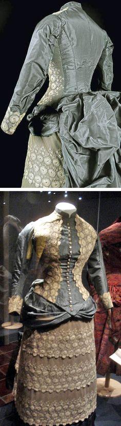 Dress, ca. 1880, shown at an exhibit by the Musée de la Mode in Albi in 2013. Musée de la Mode Facebook and Temps de Dance blog