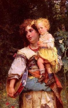 Cesare Auguste Detti (1847-1914) : Bohémienne et son enfant