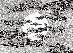 Title  Full Moon On A Cloudy Night   Artist  Anushree Santhosh   Medium  Painting - Drawing - Pen And Ink On Paper