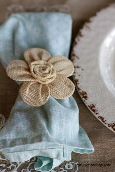 Easy DIY burlap flower napkin rings and ideas for setting a spring tablescape. Easy DIY burlap flower napkin rings and ideas for setting a spring tablescape. Burlap Crafts, Fabric Crafts, Sewing Crafts, Diy Crafts, Burlap Flowers, Diy Flowers, Fabric Flowers, Flower Ideas, Burlap Art