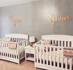 What a beautiful nursery! The custom name signs are made by The Gilded Line on Etsy. twins Large baby name sign, wood wall name sign, different font selections available