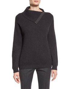 W0E19 Brunello Cucinelli Ribbed Cashmere Folded Sweater, Anthracite