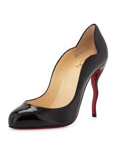 Wawy Dolly Patent Squiggly-Heel Red Sole Pump, Black, Women's, Size: 40.0B/10.0B - Christian Louboutin
