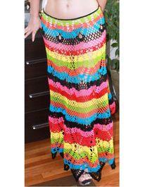 Crochet Maxi Multicolor hippie boho festival Skirt by DearAlina