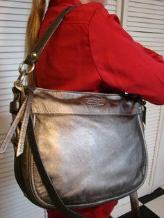 Coach Metallic Leather Zoe Handbag Purse Tote Shoulderbag | eBay
