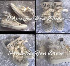 Pearl and Swarovski Crystal Rhinestone Custom High Top Converse Wedding Shoes - Bride Shoes - Pearl Wedding Shoes - Wedding Converse Flower Girl Shoes, Girls Shoes, Flower Girls, Converse Wedding Shoes, Custom Converse, Women's Converse, Pageant Shoes, Best Bridal Shoes, Custom Design Shoes