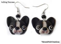 French bulldog earrings polymer clay , by Velours Noir Crèations, 10,00 € su misshobby.com