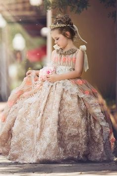Enchanting and elegant, this decadent blouse and cream special occasion dress from … - Baby Dress Little Girl Dresses, Flower Girl Dresses, Kid Dresses, Amazing Wedding Dress, Fairy Dress, Couture Dresses, Special Occasion Dresses, Girl Fashion, Dress Up