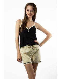 Zega Store - Pijamale Mushroom, culoarea galben cu negru - Femei, Pijamale Casual Shorts, Short Dresses, Women, Fashion, Moda, Short Gowns, Fashion Styles, Fashion Illustrations, Skater Skirts