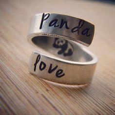 Panda love hand stamped aluminum spiral ring by LindaMunequita, $11.00