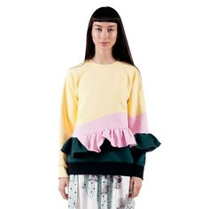 Hard Candy Sweatshirt features a crew neck, raglan sleeves with elastic cuffs, a ruffle detail on the left sleeve, a ruffle peplum detail and ribbed hem. Peplum, Ruffle Blouse, Hard Candy, Bell Sleeve Top, Short Sleeves, Style Inspiration, Shirt Dress, Sweatshirts, How To Wear