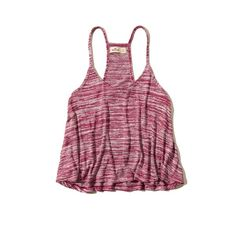 Hollister Point Vicente Drapey Knit Cami ($9.97) ❤ liked on Polyvore featuring tops, dark marled pink, pink cami, pink camisole, purple cami and purple camisole