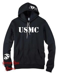 Freedom Rings Apparel - USMC Military Branch Hoodie, $37.95 (http://www.freedomringsapparel.com/usmc-military-branch-hoodie/)