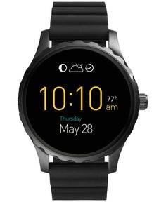 Fossil Men's Digital Q Marshal Black Silicone Strap Smart Watch 45mm FTW2107
