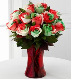 Holiday Festival Rose Bouquet - 12 Stems - VASE INCLUDED