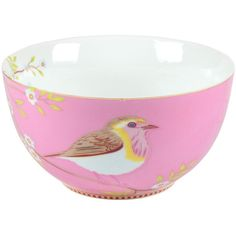 Pip Studio Early Bird Bowl - Pink ($17) ❤ liked on Polyvore featuring home, kitchen & dining, dinnerware, pink, bird bowl, floral porcelain dinnerware, pip studio, pink bowl and pip studio dinnerware