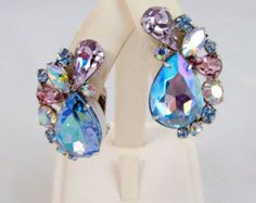 Alice Caviness Earrings Heliotrope Pear Cut Vintage Dazzling Jewelry Rhodium Plated