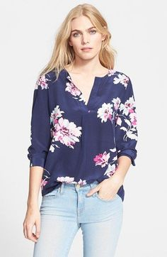 Free shipping and returns on Joie 'Deon B' Silk Blouse at Nordstrom.com. Gorgeous blooms burst over the lustrous deep navy silk of a breezy split-neck blouse framed with full, long sleeves.