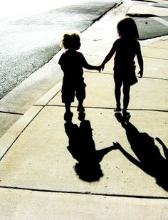 Girl Silhouette | Little girl and boy hold hands silhouette