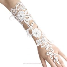 Romantic White Bridal Gloves Fingerless Lace Floral Pearl Wedding Prom by White Bridal, Bridal Lace, Prom Dresses Under 200, Lace Gloves, Fingerless Gloves, Wedding Gloves, Wedding Dress Accessories, Women's Accessories, Evening Party Gowns
