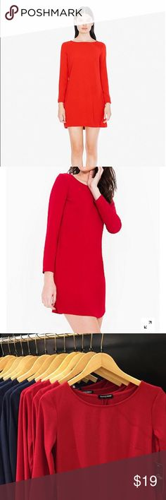 🚨 American Apparel Gia Crepe Mini Dress Hot red long sleeve crepe mini dress with high neckline. Perfect for the holidays. A-line design and darts at the bust for ultra flattering fit. 95% polyester, 5% elastane. Approx 32 in length, made in USA. American Apparel Dresses Mini
