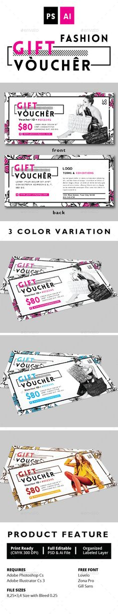FASHION GIFT VOUCHER Design Template Vol. 2 - Print Templates PSD. Download…
