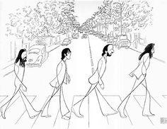 The Beatles, Abbey Road, by Al Hirschfeld.