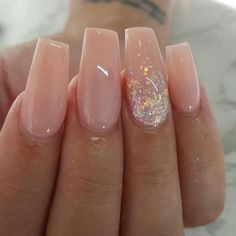 Pinky nude nails with ombré glitter accent nail